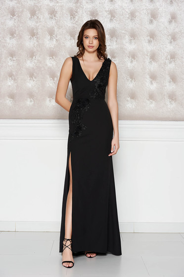 StarShinerS black occasional dress slightly elastic fabric with inside lining with floral details with 3d effect