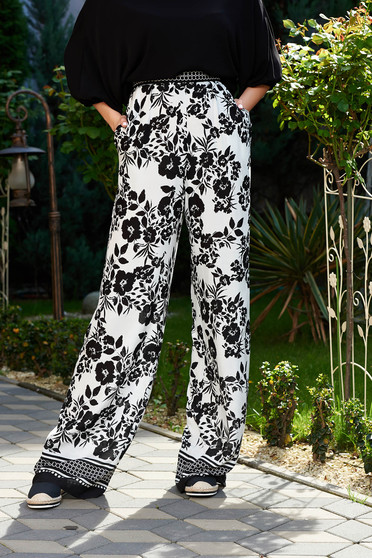 StarShinerS black casual flared high waisted trousers airy fabric with pockets