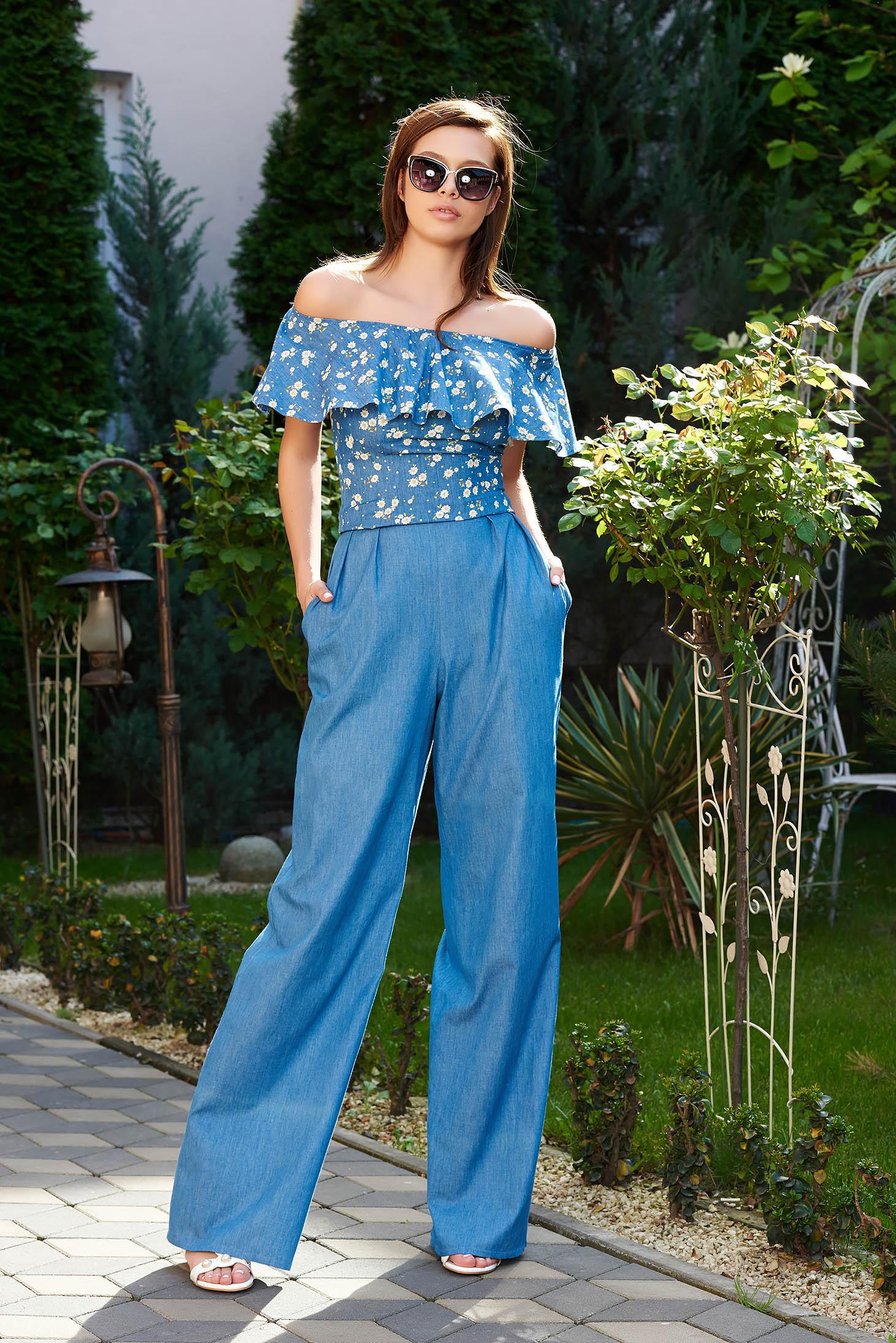 Pantaloni StarShinerS albastri casual evazati cu talie inalta din denim cu buzunare