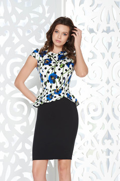 StarShinerS black office pencil dress with frilled waist cotton