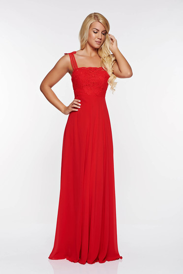 Red occasional dress with inside lining voile fabric knitted lace