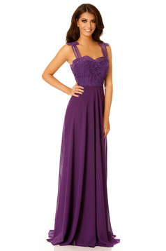 Purple occasional dress with inside lining voile fabric knitted lace