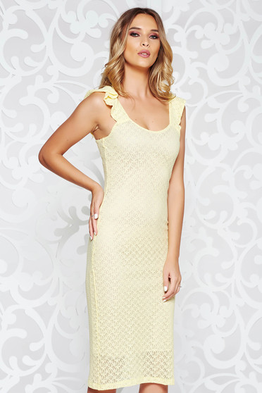 StarShinerS yellow daily pencil dress from elastic and fine fabric with inside lining sleeveless