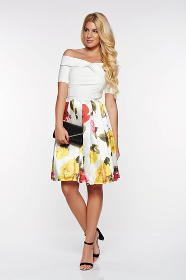 Artista cloche white off shoulder dress with inside lining occasional