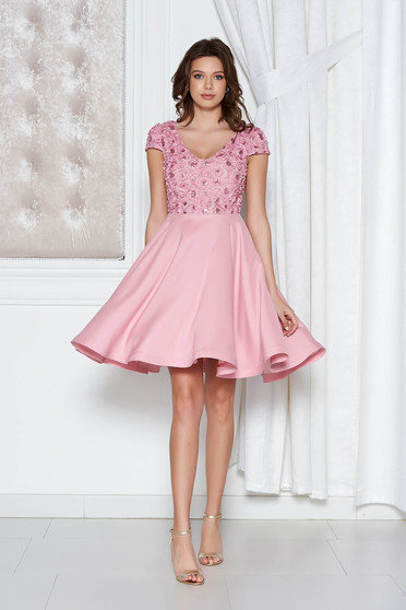 Occasional StarShinerS rosa cloche dress from satin fabric texture with sequin embellished details