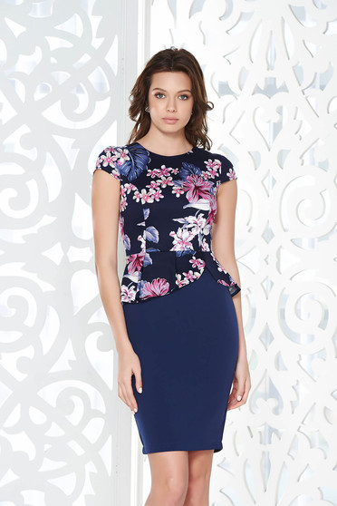 StarShinerS darkblue office pencil dress with frilled waist cotton