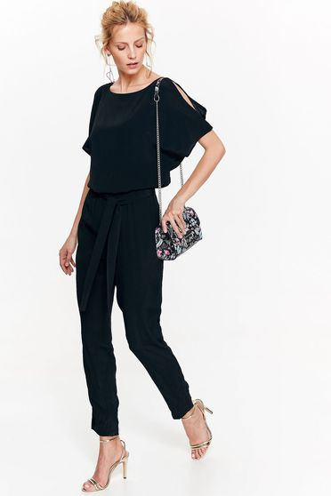 Top Secret black jumpsuit with elastic waist both shoulders cut out airy fabric elegant