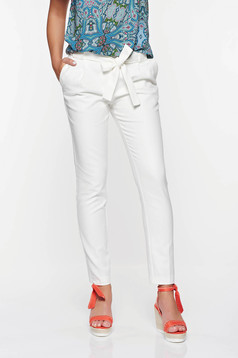 Top Secret white elegant conical trousers with pockets with medium waist cotton