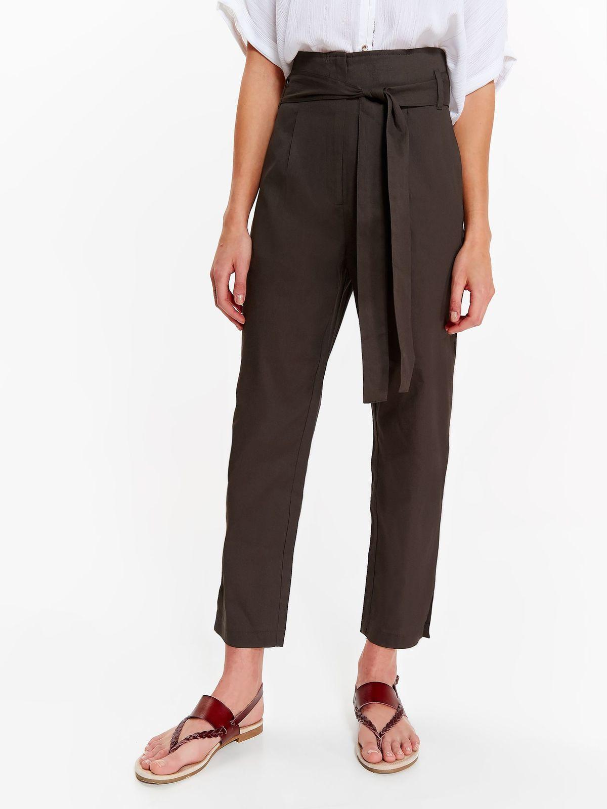 Pantaloni Top Secret verzi office cu talie inalta din bumbac neelastic accesorizati cu cordon