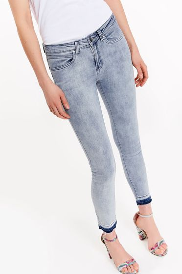 Top Secret blue casual jeans slightly elastic cotton with pockets with medium waist