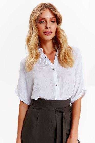 Top Secret white office flared cotton women`s shirt short sleeves