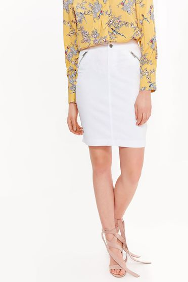 Top Secret white with tented cut skirt cotton with medium waist with zipper details pockets