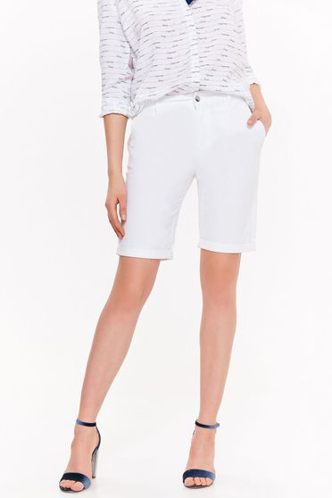 Top Secret white short with medium waist cotton with pockets