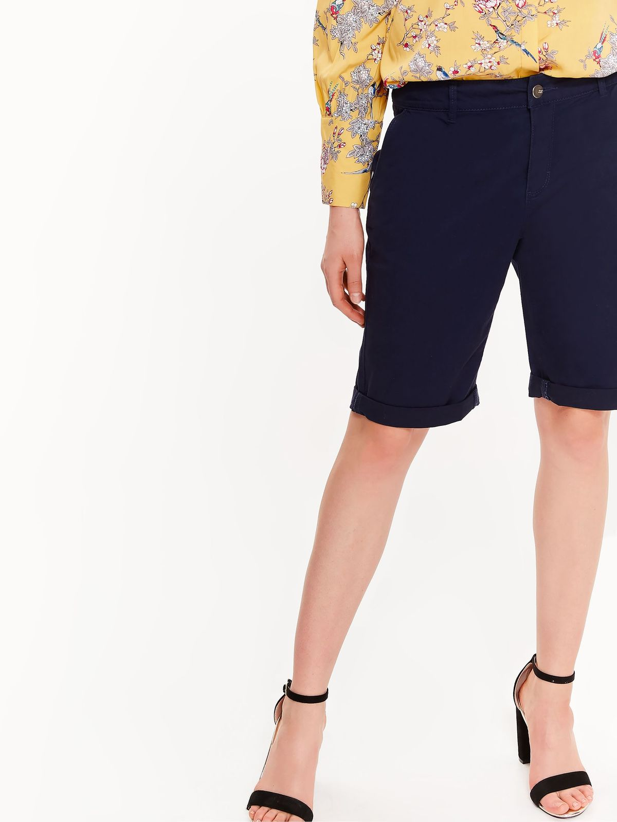 Pantalon scurt Top Secret albastru-inchis cu talie medie din bumbac cu buzunare