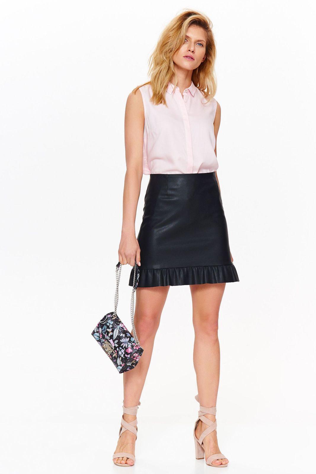 Camasa dama Top Secret rosa basic cu croi larg din material vaporos fara maneci