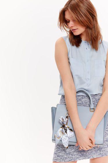 Top Secret lightblue sleeveless flared women`s shirt airy fabric basic