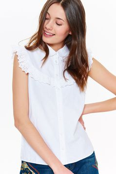 Top Secret white casual women`s shirt nonelastic cotton with round collar with ruffles on the chest