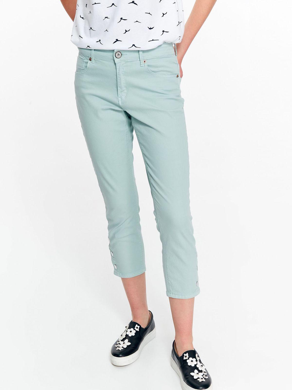 Pantaloni Top Secret albastri deschis casual cu talie medie din bumbac cu buzunare
