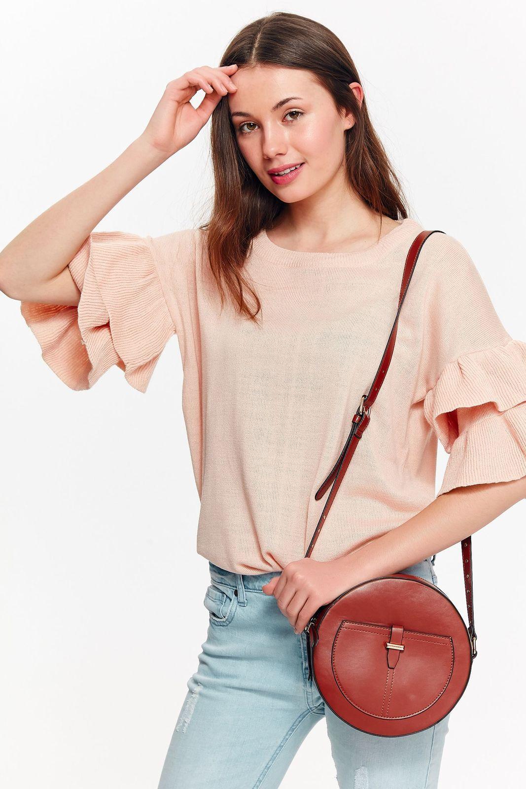 Bluza dama Top Secret rosa casual cu croi larg din material moale cu volanase la maneca