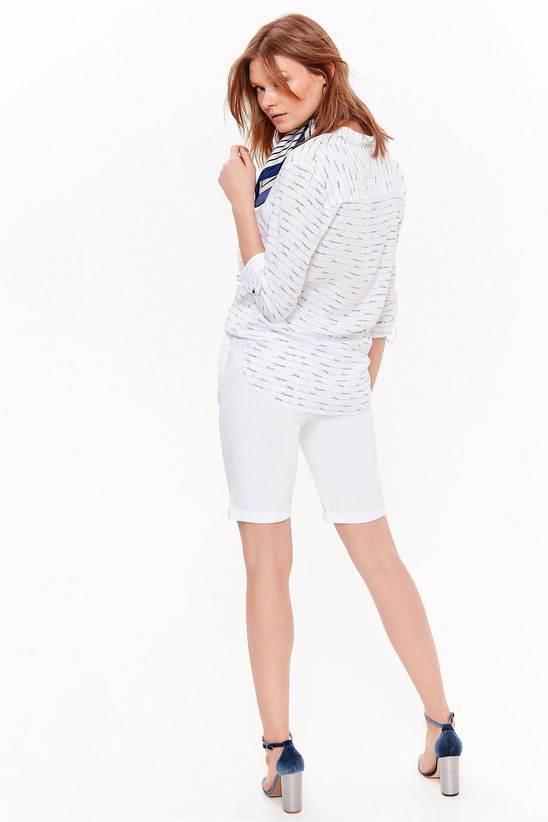 Camasa dama alba Top Secret casual cu croi larg din material neelastic vaporos cu print