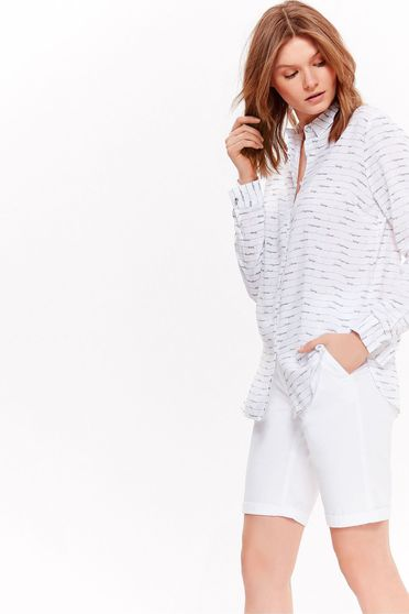 Top Secret white casual flared women`s shirt nonelastic fabric with print details airy fabric