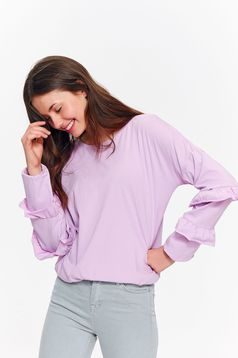 Top Secret lila casual flared women`s blouse cotton with ruffled sleeves
