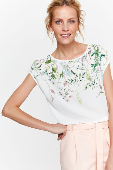 Top Secret white t-shirt casual with easy cut airy fabric with floral prints