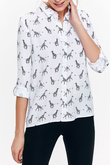 Top Secret white casual flared women`s shirt airy fabric with print details