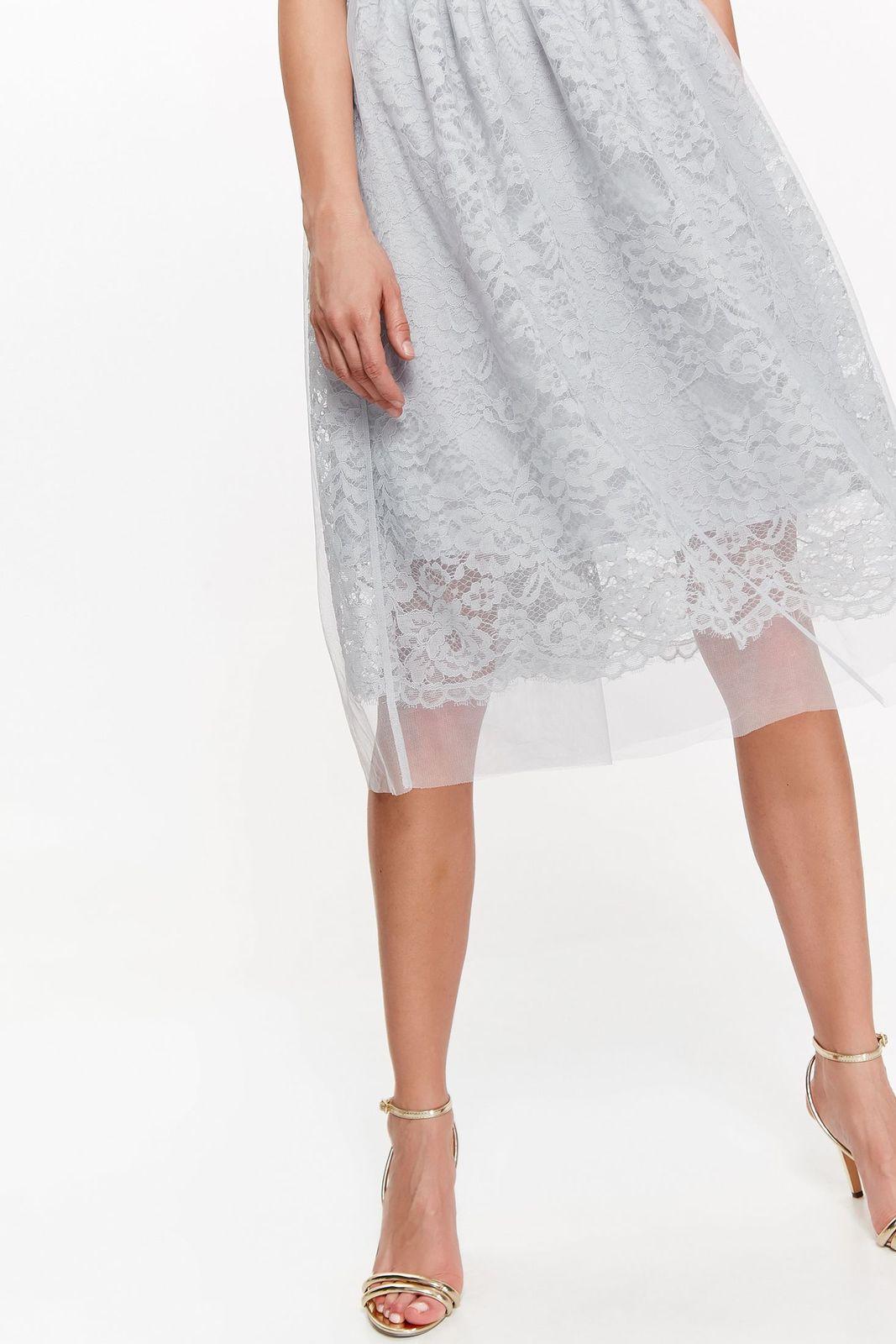 Fusta Top Secret gri eleganta in clos din dantela captusita pe interior cu elastic in talie