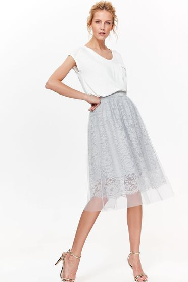 Top Secret grey elegant cloche skirt laced with elastic waist with inside lining