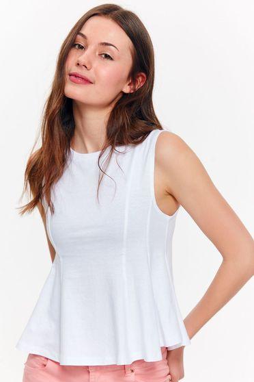 Top Secret white casual cotton flared top shirt short cut
