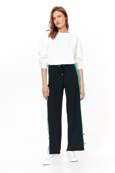 Top Secret black trousers casual flared nonelastic fabric is fastened around the waist with a ribbon metal eyelets fastening