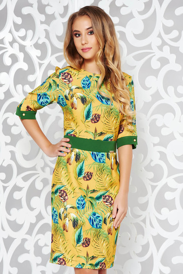 PrettyGirl mustard elegant dress from elastic and fine fabric pencil with floral prints
