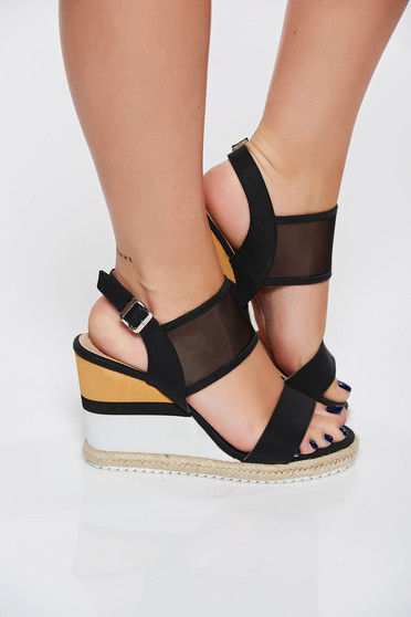 Black casual sandals from ecological leather metallic buckle