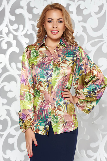 PrettyGirl brown elegant women`s shirt from satin fabric texture with easy cut with floral prints