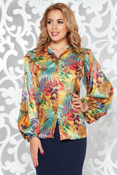 PrettyGirl green elegant women`s shirt from satin fabric texture with easy cut with floral prints