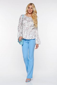 PrettyGirl lightblue elegant trousers with medium waist flared from elastic and fine fabric