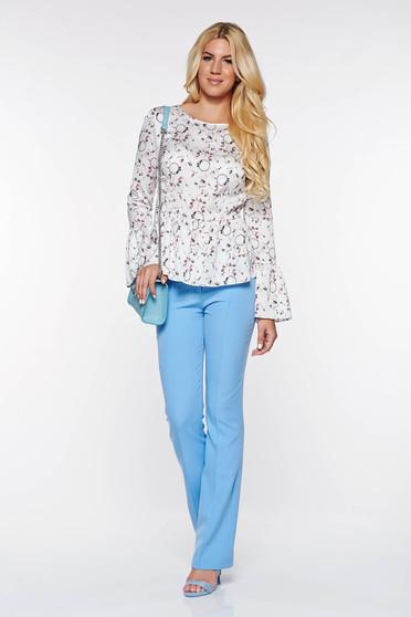 PrettyGirl lightblue elegant trousers with medium waist flared from elastic and fine fabric