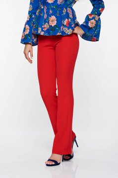 PrettyGirl red elegant trousers with medium waist flared from elastic and fine fabric