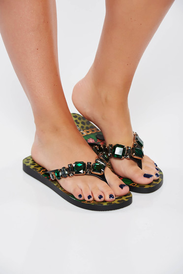 Green slippers beach wear with crystal embellished details with print details