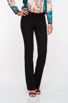 PrettyGirl black elegant trousers with medium waist flared from elastic and fine fabric