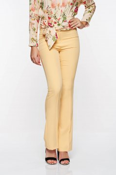 PrettyGirl mustard elegant trousers with medium waist flared from elastic and fine fabric