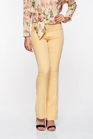 PrettyGirl mustard elegant trousers with medium waist flared from elastic and fine fabric