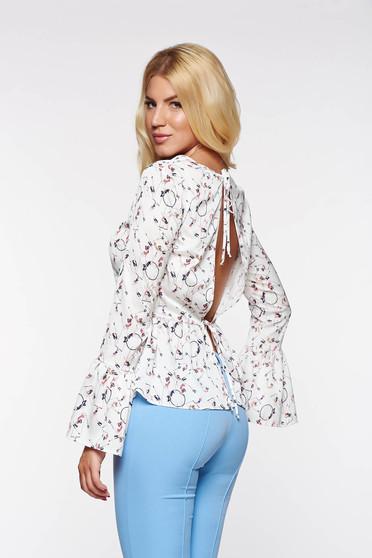 PrettyGirl grey elegant flared women`s blouse with cut back airy fabric
