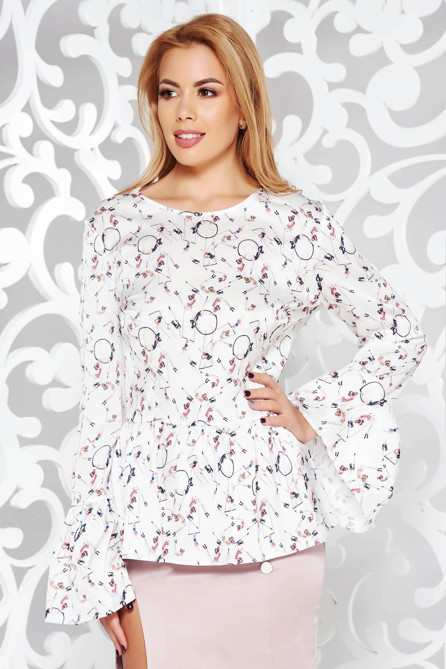 Bluza dama PrettyGirl gri eleganta cu croi larg din material vaporos cu spatele decupat