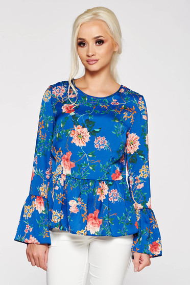 PrettyGirl blue elegant flared women`s blouse with cut back airy fabric