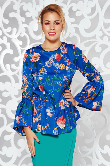 PrettyGirl blue elegant flared women`s blouse with cut back airy fabric