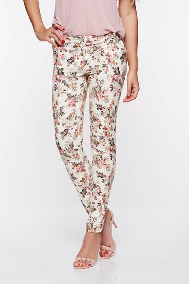 PrettyGirl cream elegant trousers with medium waist nonelastic cotton with pockets