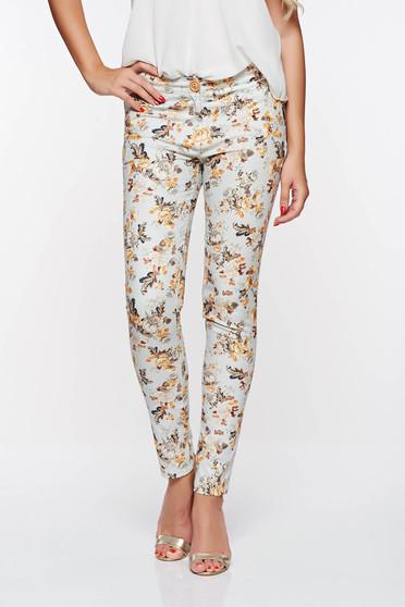 PrettyGirl lightblue elegant trousers with medium waist nonelastic cotton with pockets