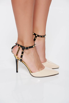 Cream elegant shoes with metallic spikes from ecological varnished leather